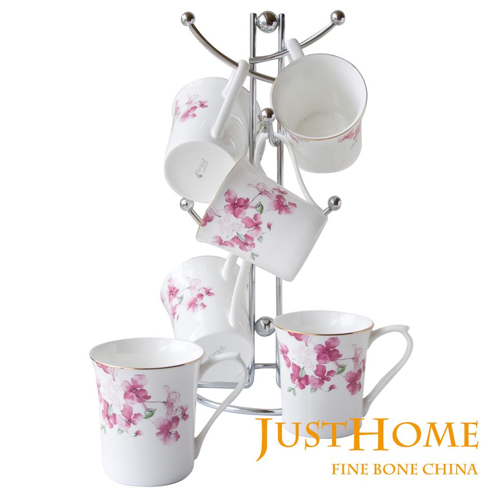 【Just Home】花裳高級骨瓷6入馬克杯(附收納杯架)