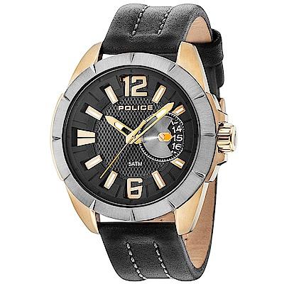 POLICE 自信風範時尚皮革手錶-黑X金/46mm