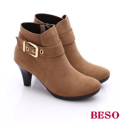 BESO 簡約知性 經典皮扣絨面羊皮高跟踝靴  卡其色