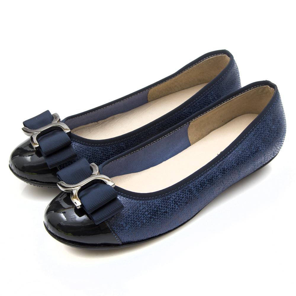 G.Ms. MIT系列-牛皮拼接圓頭蝴蝶結娃娃鞋-深藍