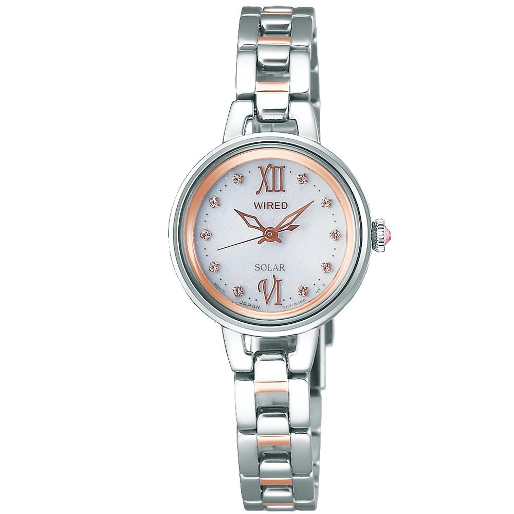 WIRED 太陽能輕時尚女錶(AY8043X1)-銀x雙色/24mm