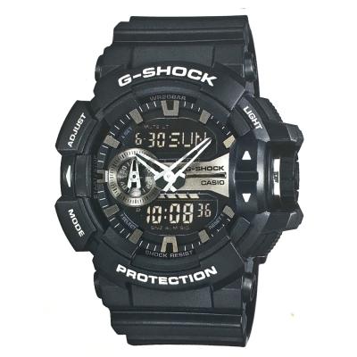 G-SHOCK街頭搖滾金屬風多層次雙顯運動錶(GA-400GB-1A)銀面51.9mm