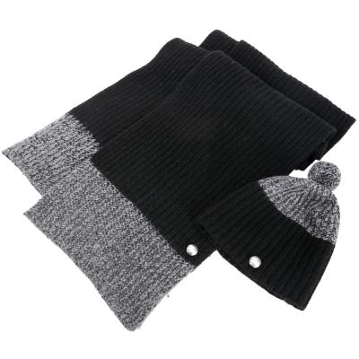 MBMJ 拼接羊毛粗針織圍巾+針織帽(深灰色/73%WOOL)