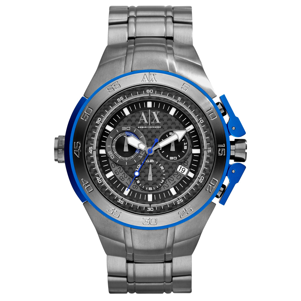 A│X Armani Exchange 【鈦】動感計時腕錶-黑/50mm