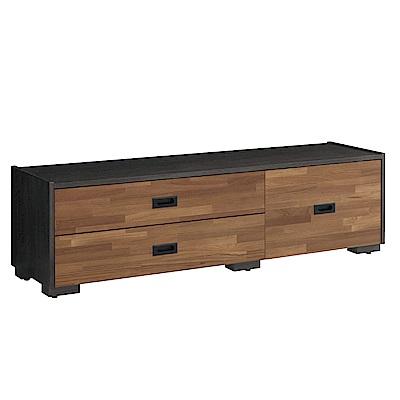 品家居 露西亞5尺木紋雙色伸縮長櫃/電視櫃-150x39.8x43.5cm免組