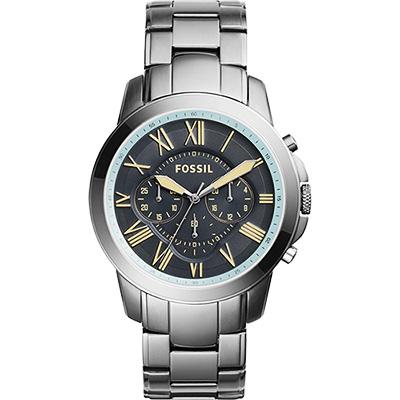 FOSSIL 都會雅爵三眼計時腕錶-灰藍x鐵灰/46mm