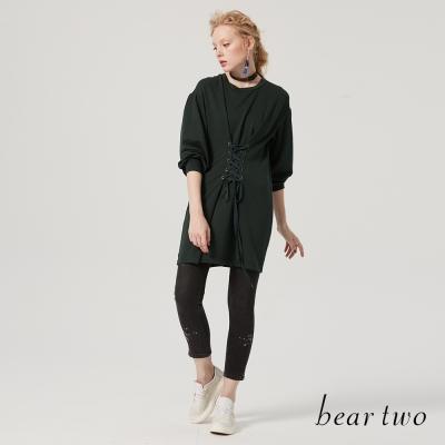 beartwo 綁帶腰封設計造型洋裝(二色)-動態show