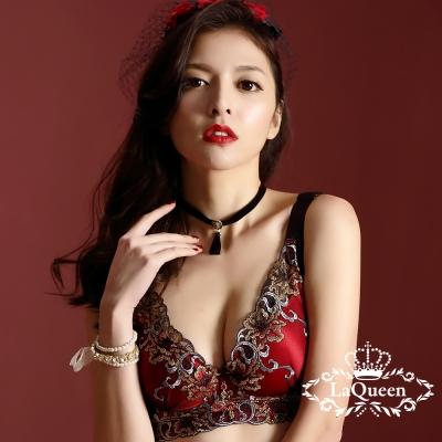 內衣  經典華麗刺繡機能無鋼圈成套內衣-紅 La Queen