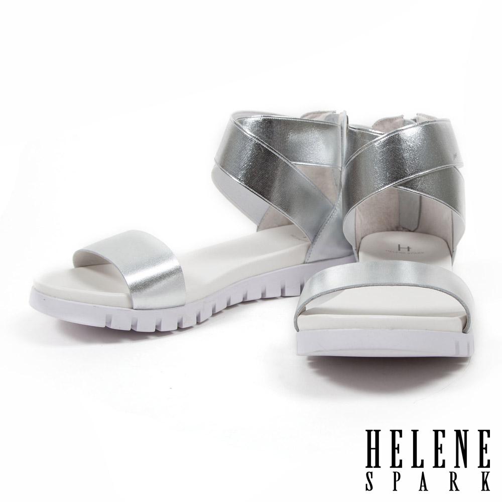 涼鞋 HELENE SPARK  搖滾羅馬式鬆緊帶牛皮厚底涼鞋-銀