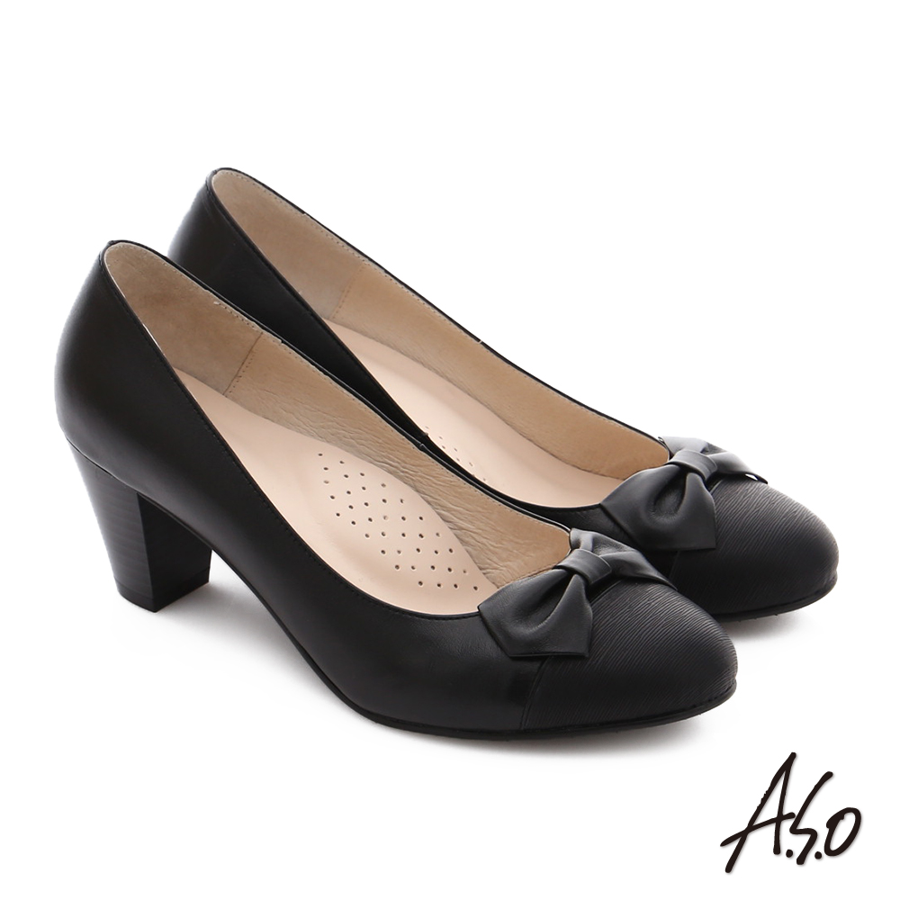 A.S.O 逸麗知性 真皮異材質蝴蝶結窩心高跟鞋 黑色