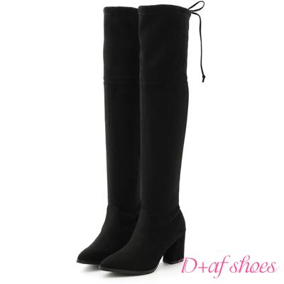 D+AF 美腿神器.顯瘦感絨料高跟膝上長靴*黑