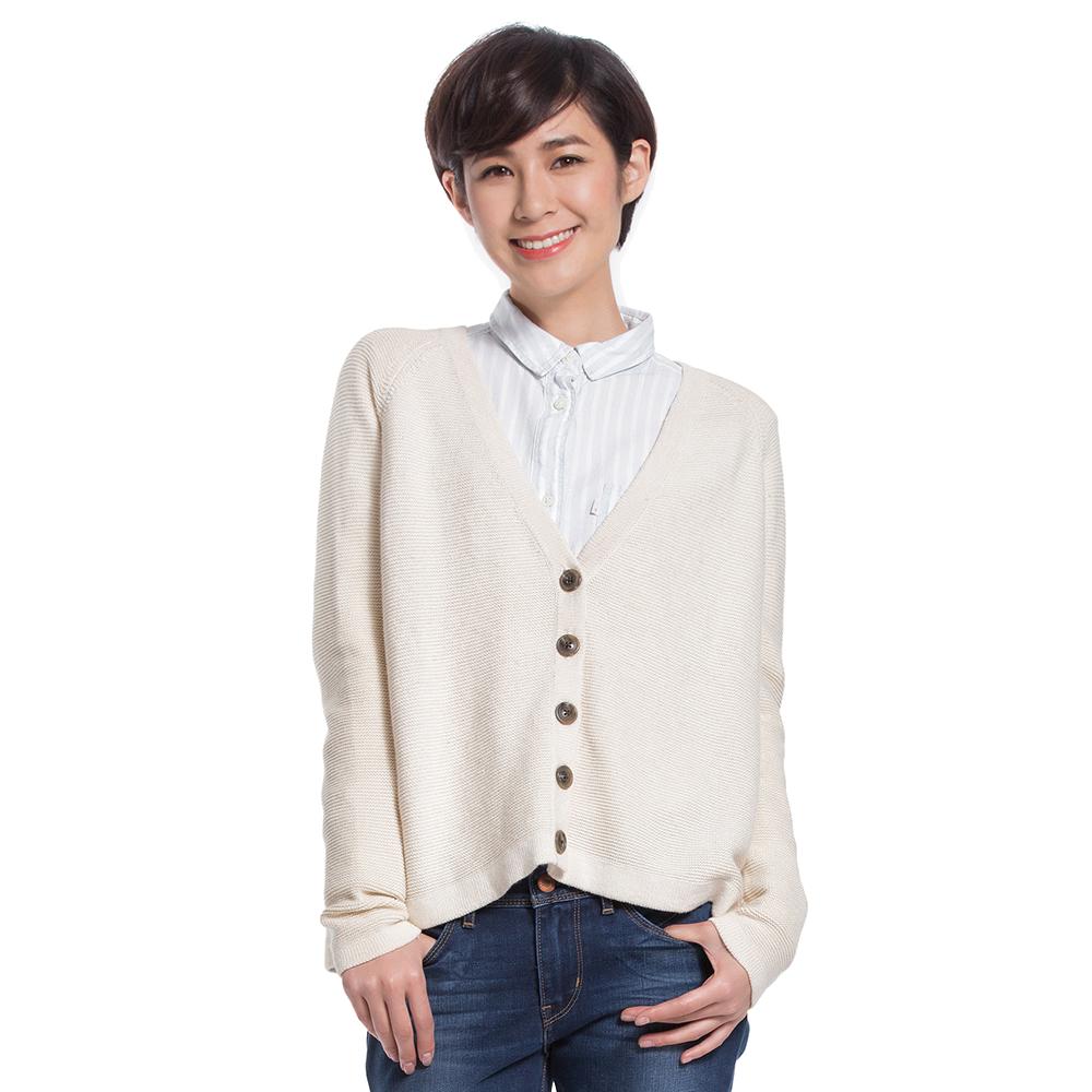Levis 女款米白針織長袖外套