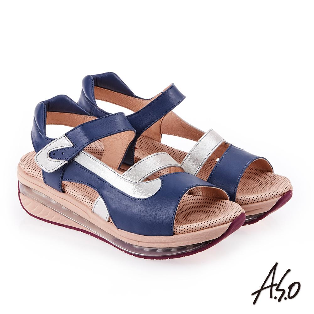 A.S.O 超能力 金箔亮麗拼接皮革輕量奈米鞋墊休閒涼鞋 藍色