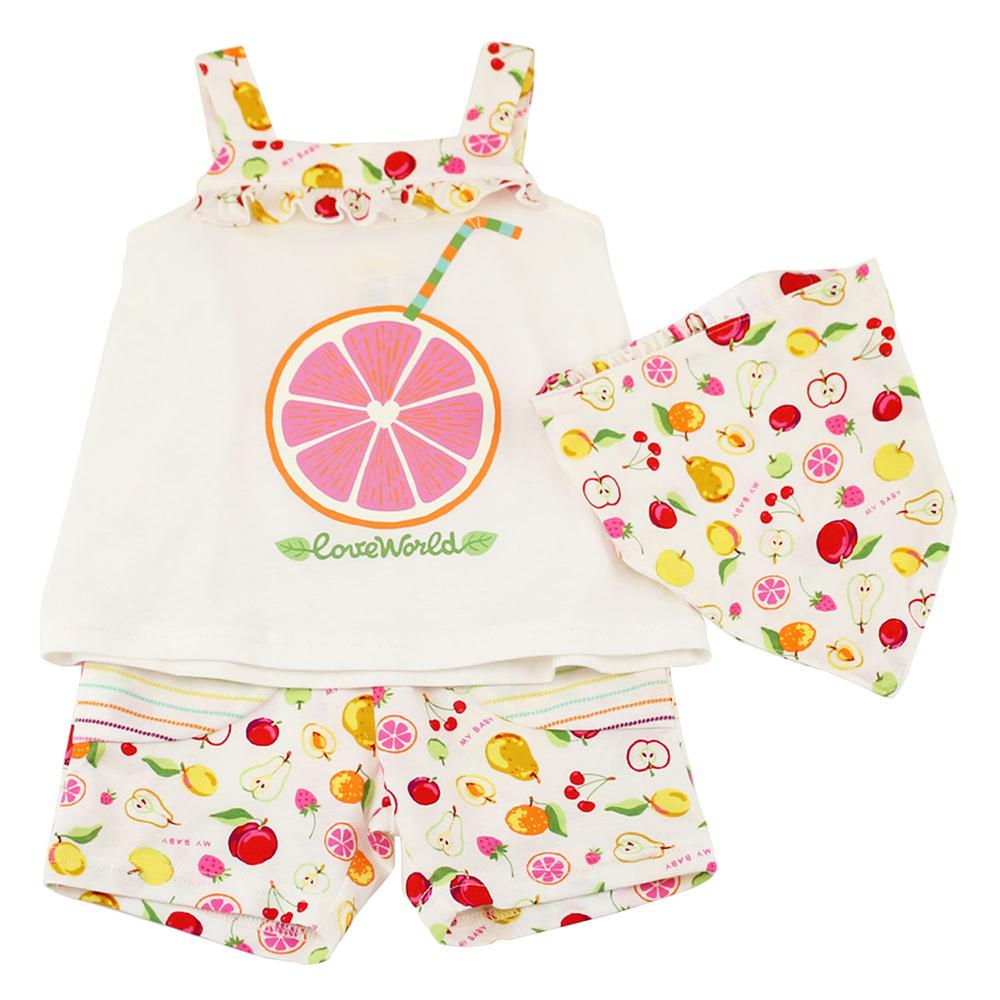 愛的世界 MYBABY 純棉水果百匯肩帶套裝/4~6歲