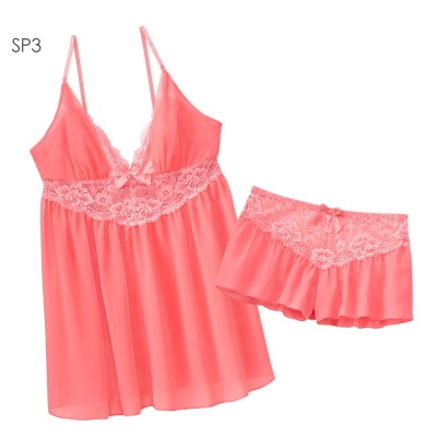 aimerfeel SEXY小薄紗性感睡袍-珊瑚粉紅色