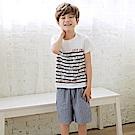 直條紋鬆緊棉質舒適休閒短褲‧童2色-OB大尺碼