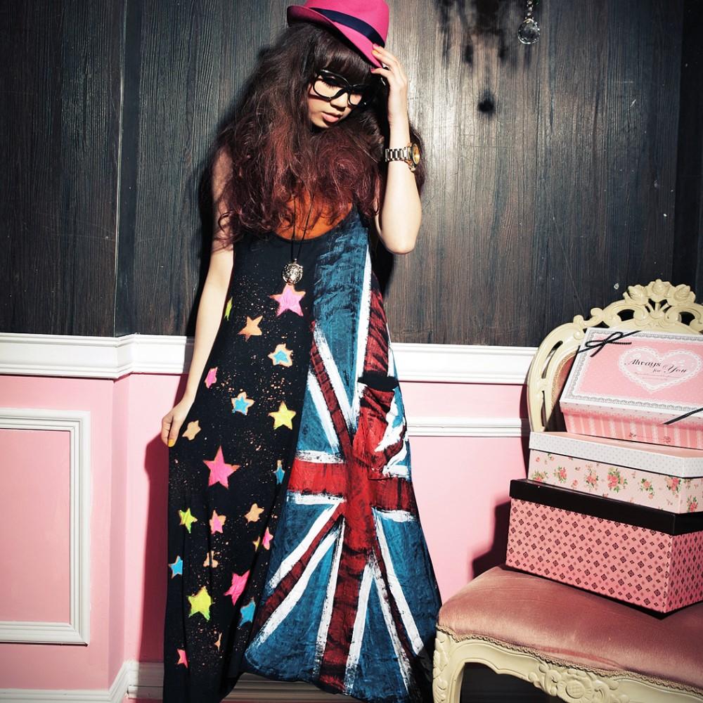 古著 國旗拼接彩色星星側口袋雙U領長版背心洋裝