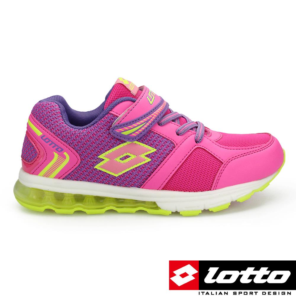 LOTTO 義大利 女大童 極光氣墊跑鞋 (粉紅)
