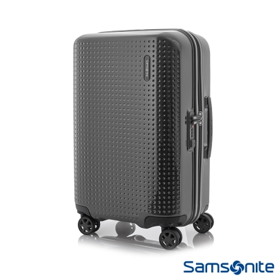 Samsonite新秀麗 20吋Pixelon圓弧立體圓點PC硬殼拉鍊登機箱(防刮消光黑)