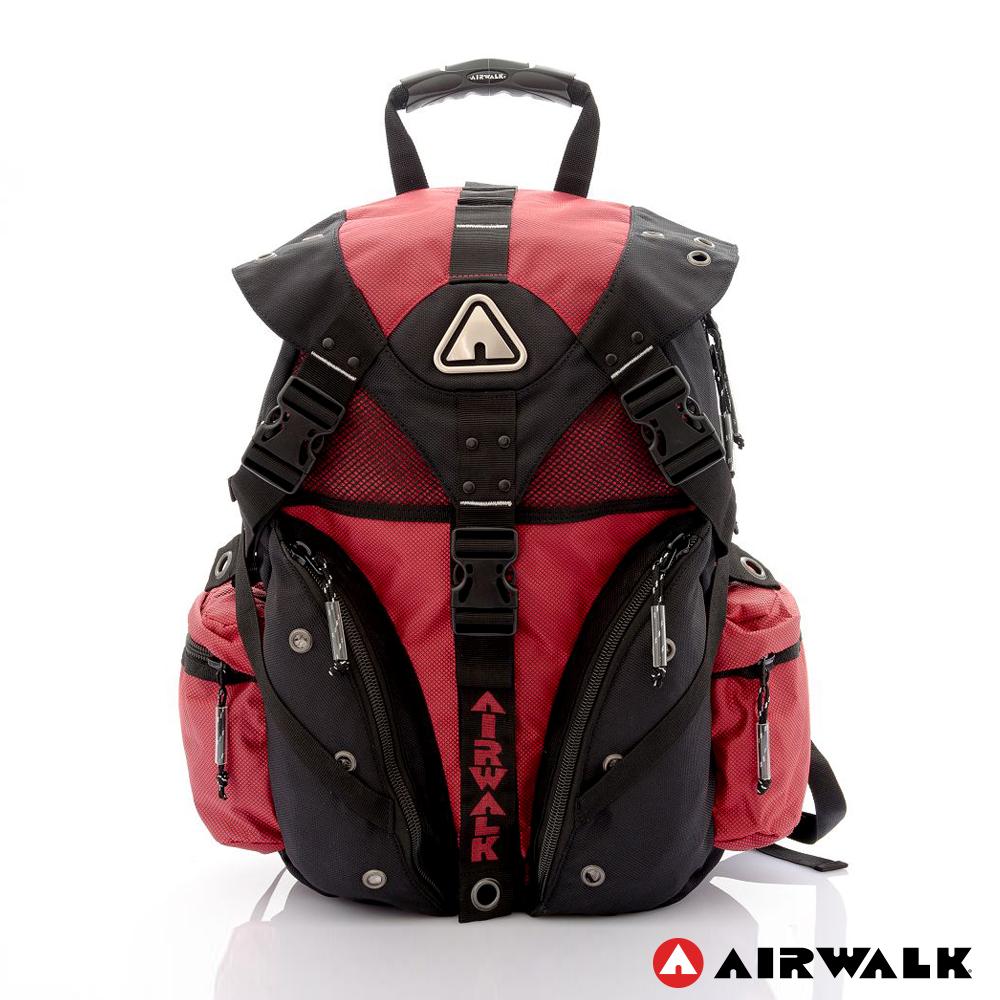 AIRWALK - 鐵金鋼 雙色重裝備感三叉釦後背包 - 黑紅