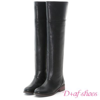 D+AF 時尚個性.2way可翻折素面膝上長靴*黑