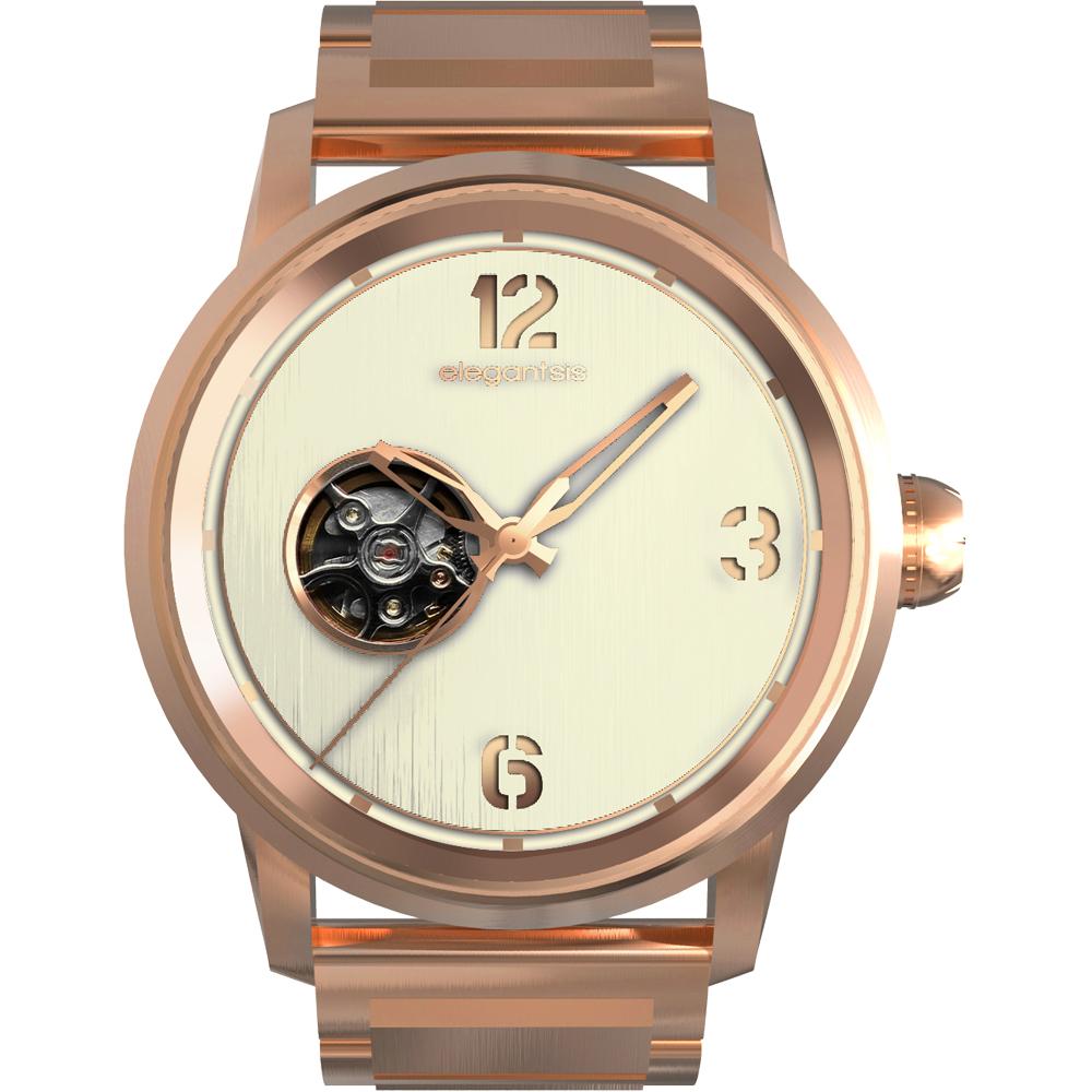 elegantsis JT75A 鏤空機械錶-米x玫瑰金/43mm