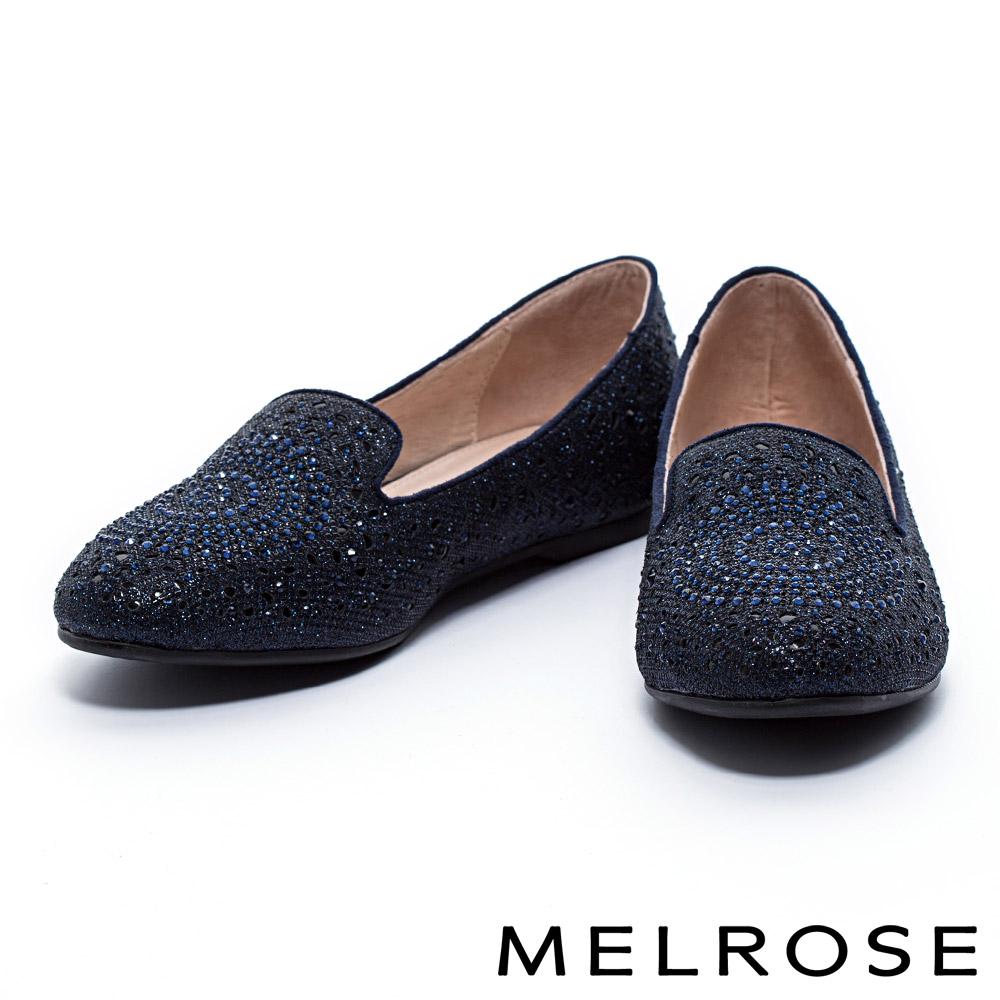 休閒鞋 MELROSE 璀璨晶鑽金蔥布內增高樂福休閒鞋-藍