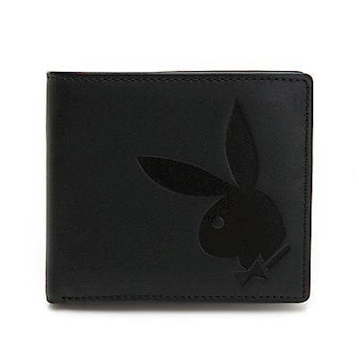 PLAYBOY- 可拆中翻短夾 大兔頭LOGO系列-經典黑