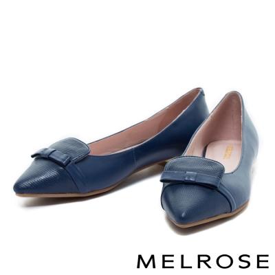 平底鞋 MELROSE 柔和優雅羊皮尖頭平底鞋-藍