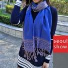 seoul show首爾秀 浪漫藍豹 棉質編織圍巾大披肩
