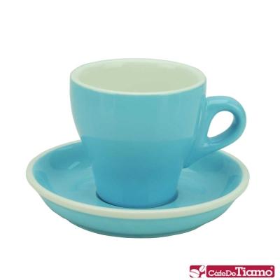 Tiamo 14號鬱金香卡布杯盤組5客180CC-粉藍色(HG0851BB)