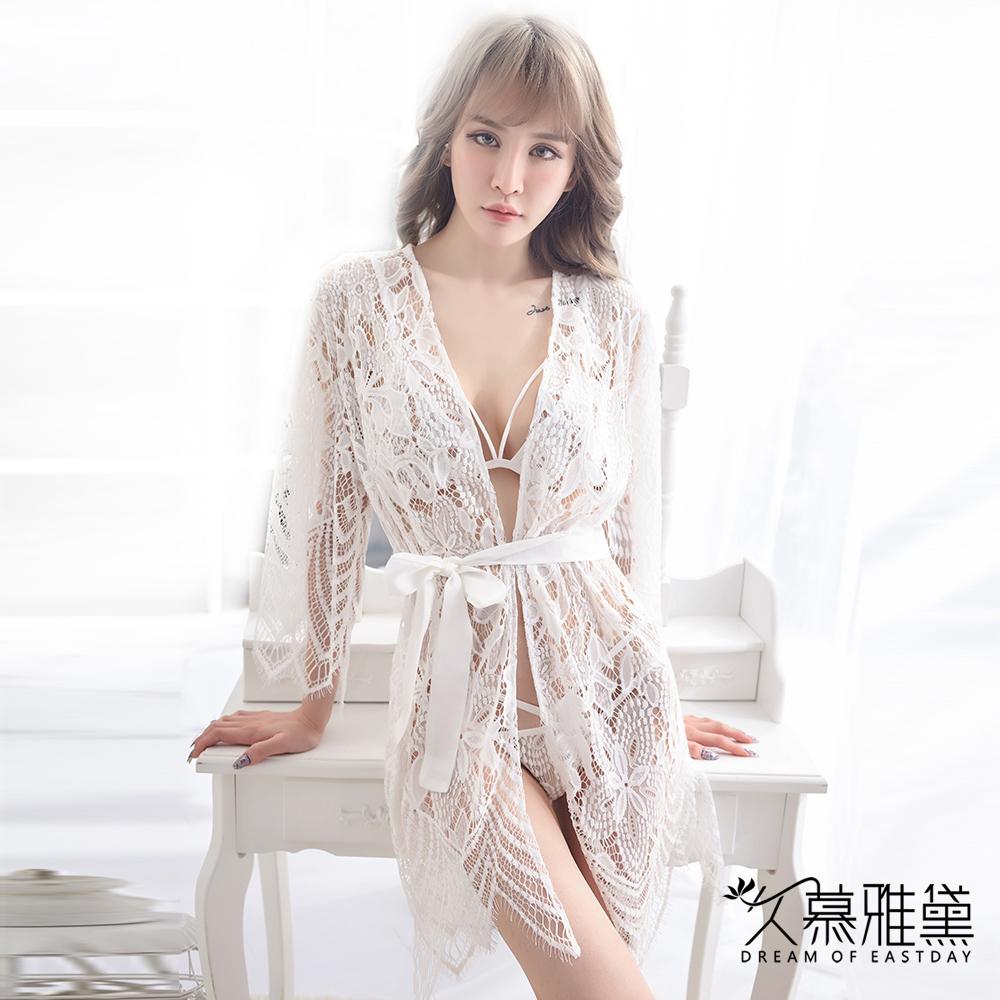 性感睡衣 水溶蕾絲鏤空外套。白色 久慕雅黛