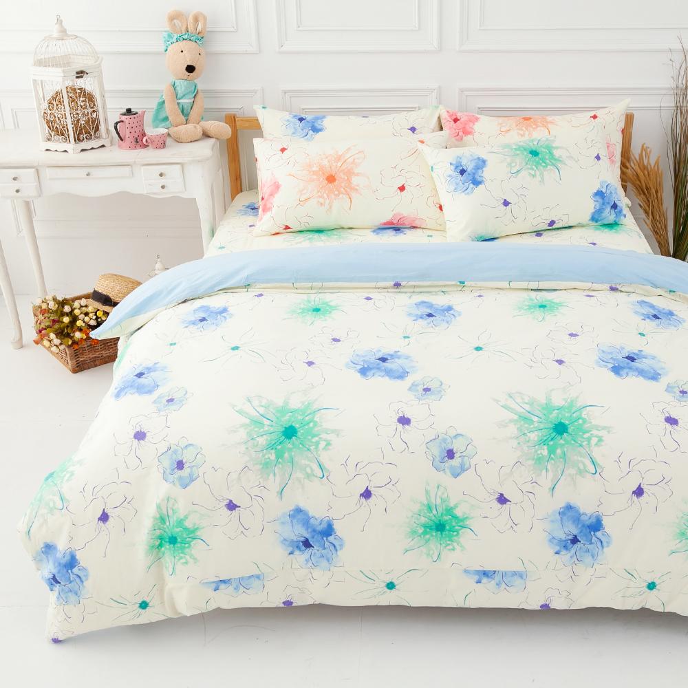 LAMINA  花想曲-藍  單人三件式純棉床包被套組