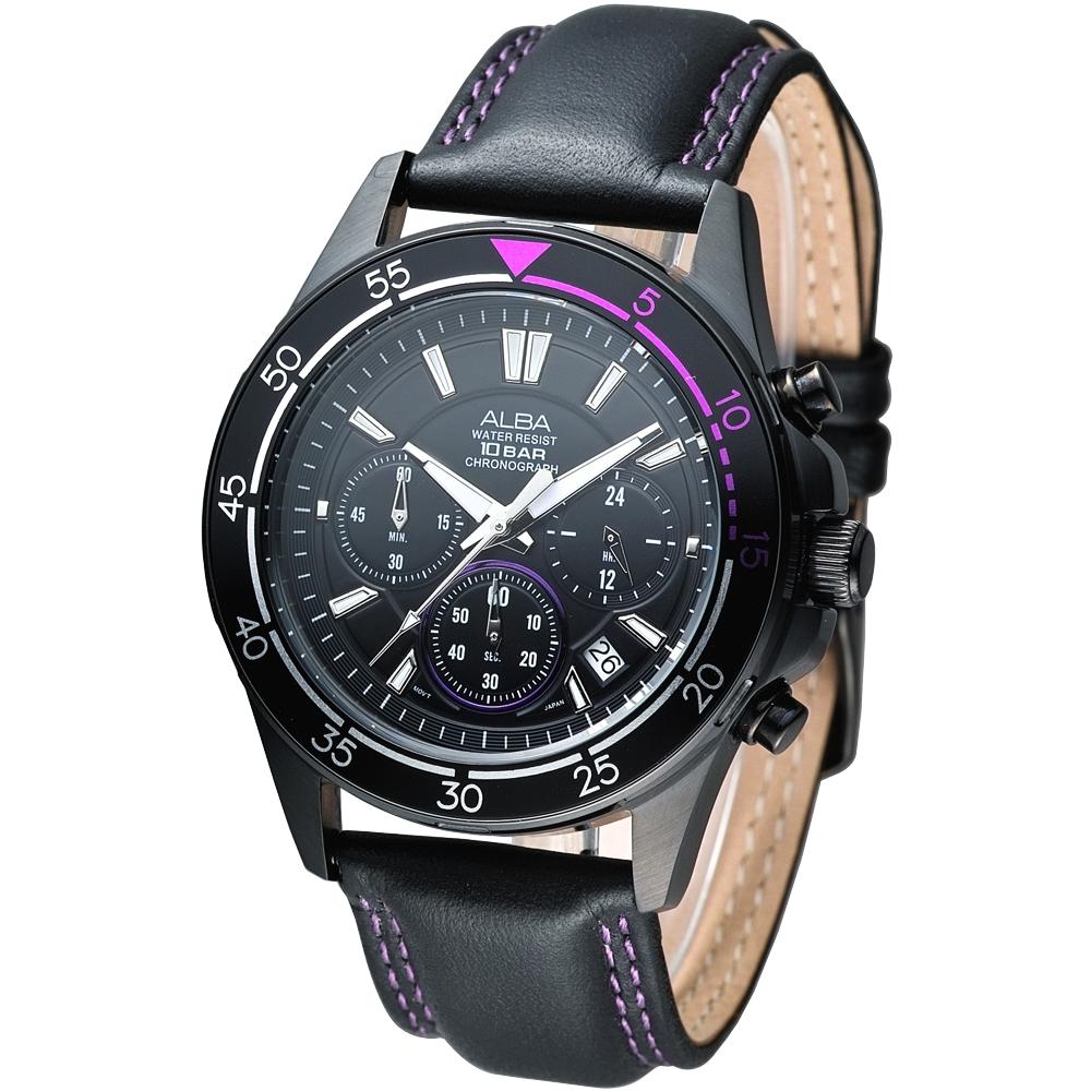 ALBA雅柏手錶 時尚系3眼計時男錶-鍍黑(AT3159X1)/41mm 保固二年