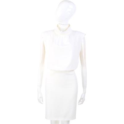 MOSCHINO 白色小立領無袖洋裝