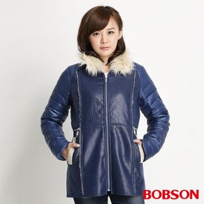 BOBSON 女款麂皮貼合毛絨外套(寶藍54)