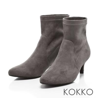 KOKKO- 慵懶迷人尖頭顯瘦小貓跟襪靴-中性灰