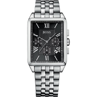 Hugo Boss 德意主張三眼計時腕錶-黑/34x42mm