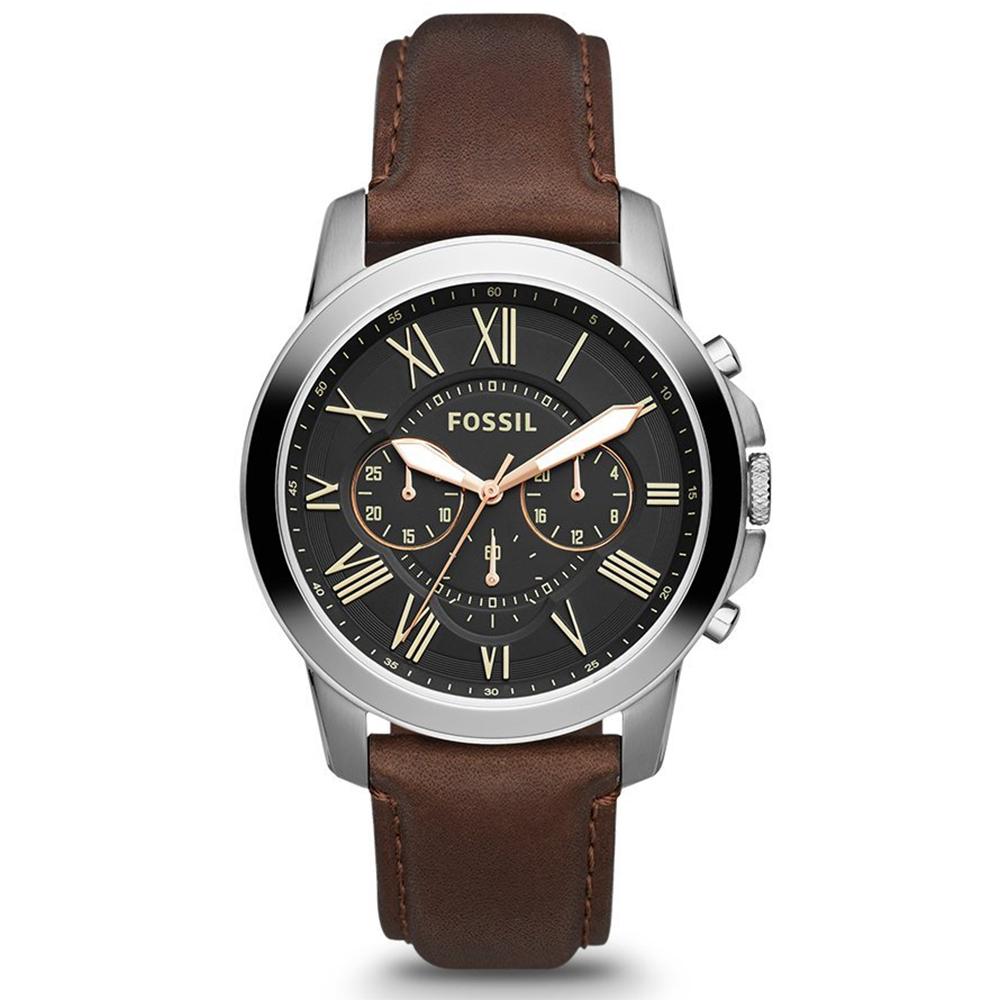 FOSSIL Grant 旗艦三眼計時復刻腕錶-黑/咖啡/44mm