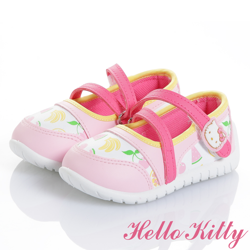 HelloKitty水果系列抗菌防臭休閒娃娃童鞋-白粉中小童