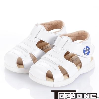 TOPUONE 舒適牛皮頂級超纖減壓學步涼鞋童鞋-白(小童)