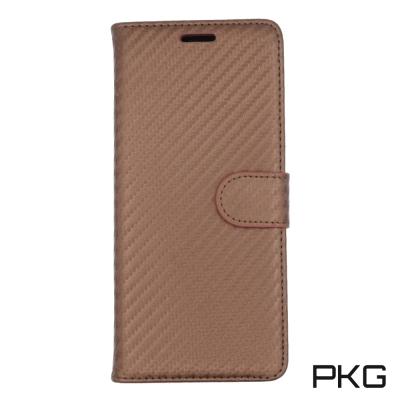 PKG SAMSUNG Note8 時尚紋路側翻皮套-類碳纖維紋-咖啡棕