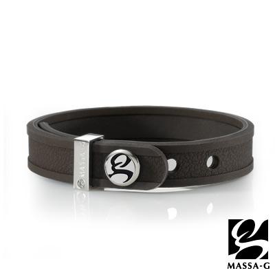 MASSA-G X ONLY U唯你健康鍺鈦手環-品牌革紋(咖)