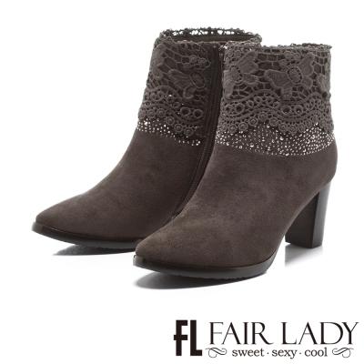 Fair Lady 雅緻蝴蝶蕾絲拼接水鑽高根短靴 灰