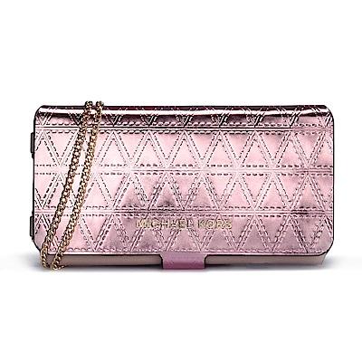 MICHAEL KORS 幾何摺線壓紋金屬皮革斜背鏈帶翻蓋式手機包-玫瑰金色