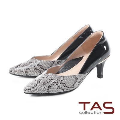 TAS 異材質拼接側v曲線尖頭高跟鞋-蛇紋灰