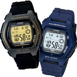 CASIO 帥氣酒桶兩地時間錶(HDD-600C)-藍/黑/黃三色