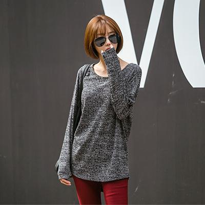 正韓-寬鬆圓領雪花混織棉質上衣-黑色-N-C21