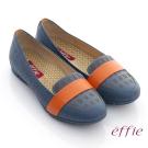 effie 活力勁步 全真皮雷射圖紋奈米平底鞋 藍