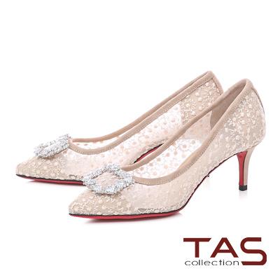 TAS水鑽飾扣碎花網紗尖頭跟鞋-透膚米